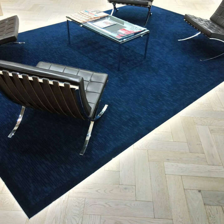 Inset Hand Tufted Rugs Office Reception Area