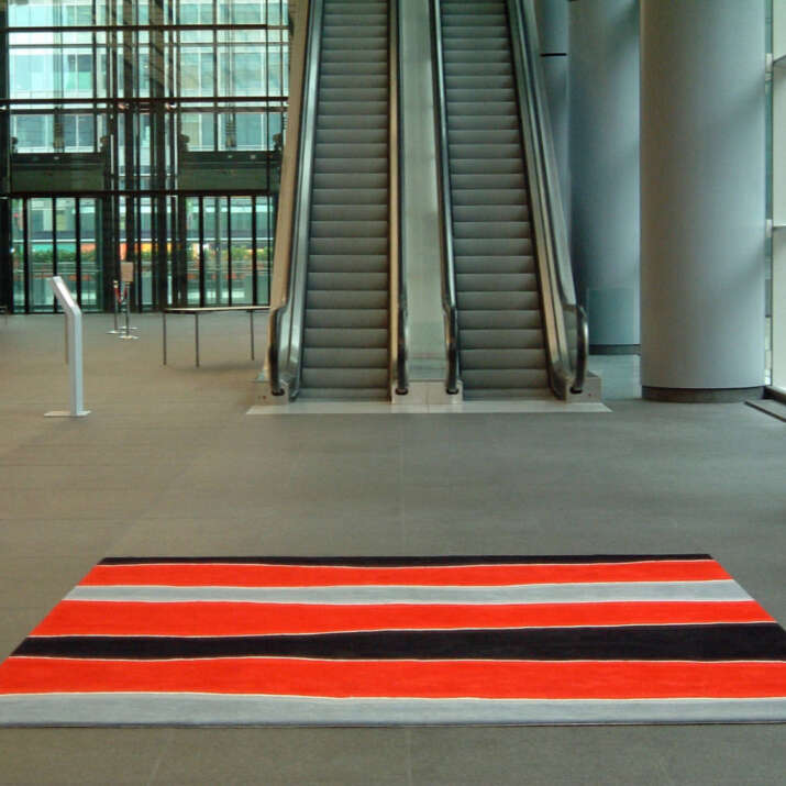 Office Block Atrium Area Hand Tufted Loose Laid Rug
