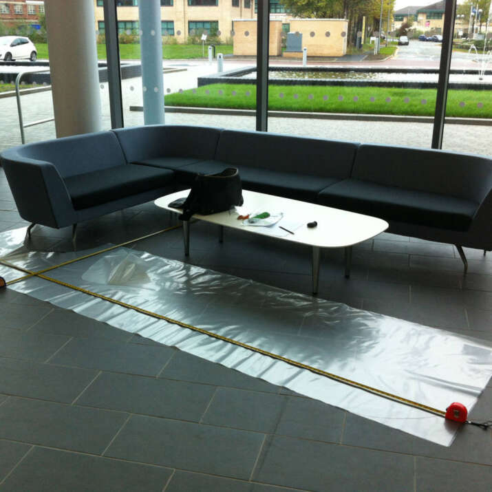 Commercial Reception Seating Area With Plastic Template