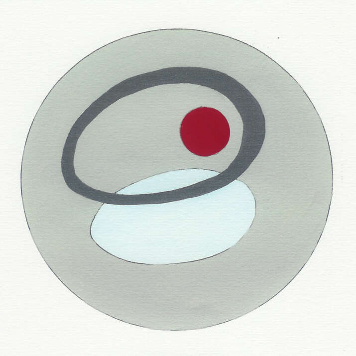 Gouache Hand Painted with Pen Sketch 'Anthony McCall inspired 1' Rug Design