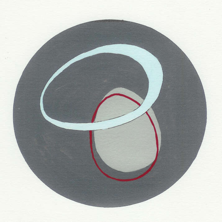 Gouache Hand Painted with Pen Sketch 'Anthony McCall inspired 2' Rug Design