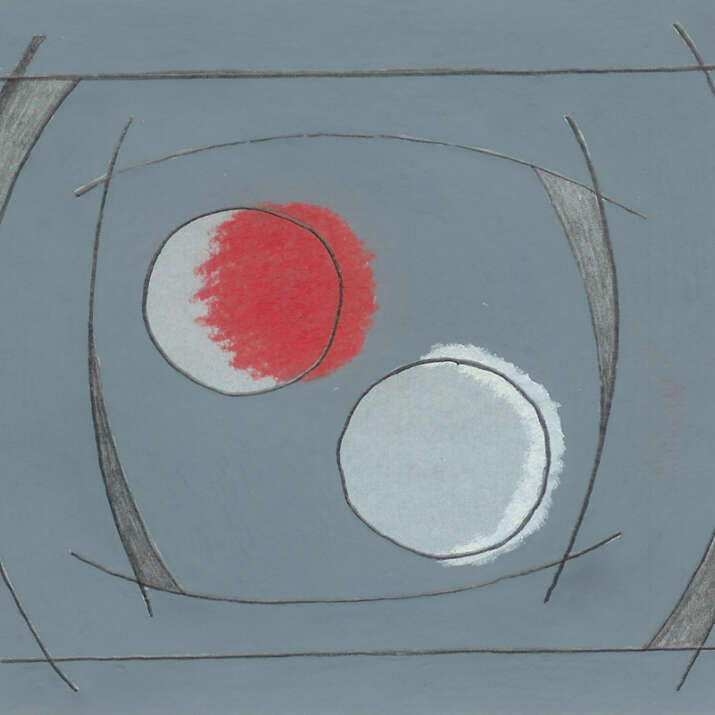 Hand Painted & Pastel Sketched 'Hepworth 1' Rug Design