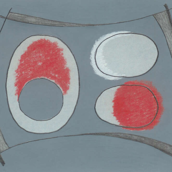 Hand Painted & Pastel Sketched 'Hepworth 2' Rug Design