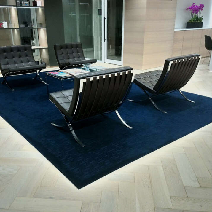 Hand Tufted Cut Loop Pile Wool Inset Office Reception Area Rug