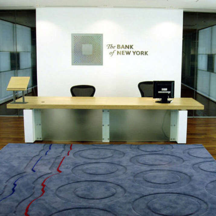 Reception Area Inset Carved Pure Wool Rug